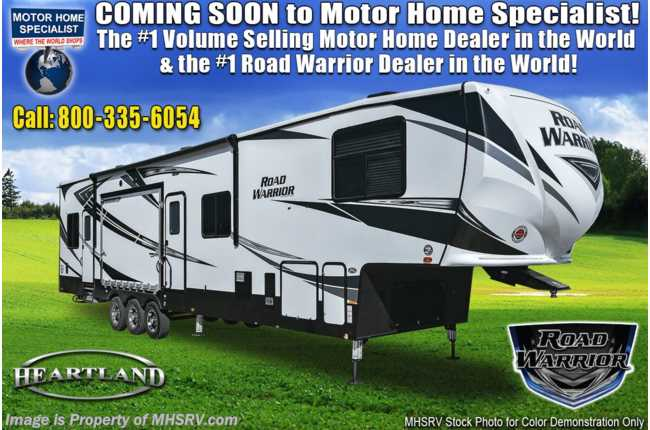 2021 Heartland RV Road Warrior 413RW Luxury Toy Hauler RV - 2 Full Baths, 3 A/Cs & Garage Wall