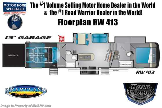 2021 Heartland RV Road Warrior 413RW Luxury Toy Hauler RV - 2 Full Baths, 3 A/Cs & Garage Wall Floorplan