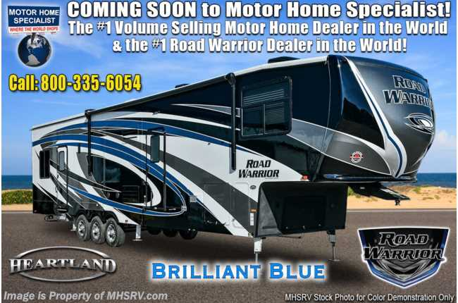 2021 Heartland RV Road Warrior 3965RW Luxury Toy Hauler RV - Bath & 1/2, FBP, 3 A/Cs, Garage Wall
