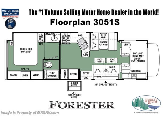 Floorplan of 2021 Forest River Forester 3051S