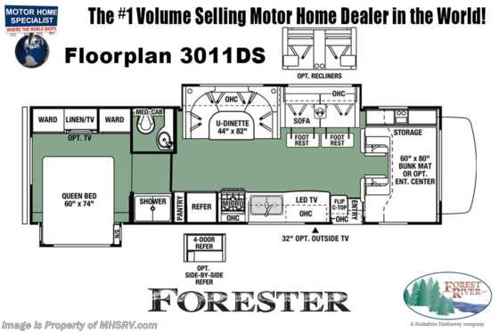 2021 Forest River Forester 3011DS W/ Theater Seats, 2 A/Cs, Solar, Ext TV, Auto Jacks & FBP Floorplan