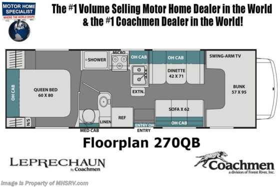 2021 Coachmen Leprechaun 270QB Class C RV W/ Back Up Monitor & 15K A/C Floorplan