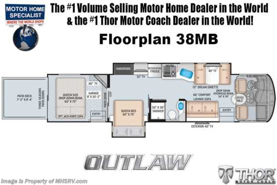 2021 Thor Motor Coach Outlaw Toy Hauler 38MB Toy Hauler RV W/ King, Dual Pane, Garage Sofas Floorplan