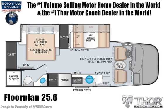2021 Thor Motor Coach Axis 25.6 RUV W/ Solar, Power Driver Seat, OH Loft, Home Collection Floorplan