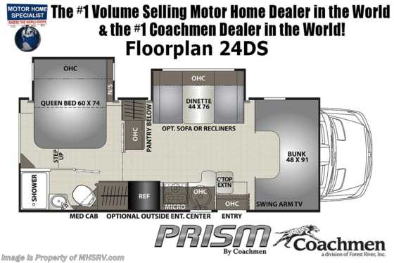 2021 Coachmen Prism Select 24DS Sprinter Diesel W/ Ext TV, Recliners, Hydraulic Jacks Floorplan