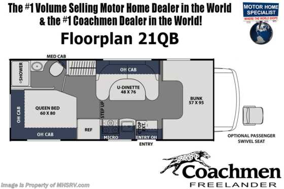 2021 Coachmen Freelander  21QB W/ OH Loft, Touch Screen Radio & Backup Cam Floorplan