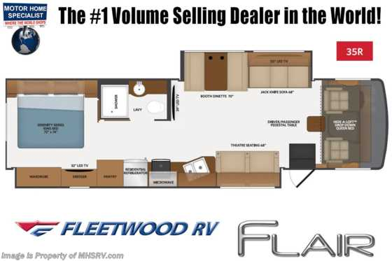 2021 Fleetwood Flair 35R W/ FBP, 15K BTU A/C, W/D, & King Bed Floorplan