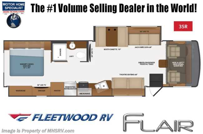 2021 Fleetwood Flair 35R W/ FBP, Oceanfront Collection, 15K BTU A/C, King Bed & W/D