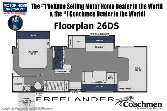 2021 Coachmen Freelander  26DS W/ Recliners, Dual A/Cs, Exterior Entertainment Floorplan