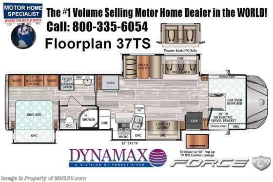2021 Dynamax Corp Force HD 37TS W/ Theater Seats, Chrome Pkg, Solar, TPMS, Mobileye Floorplan