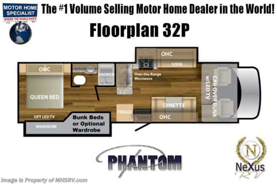 2021 Nexus Phantom 32P Bunk Model W/Fiberglass Roof, Steel Construction, Exterior TV & Residential Fridge Floorplan
