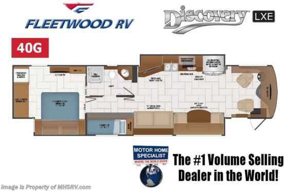 2021 Fleetwood Discovery LXE 40G Bunk Model W/ Theater Seats, OH Loft, King, Tech Pkg & 2nd Roof Awning Floorplan