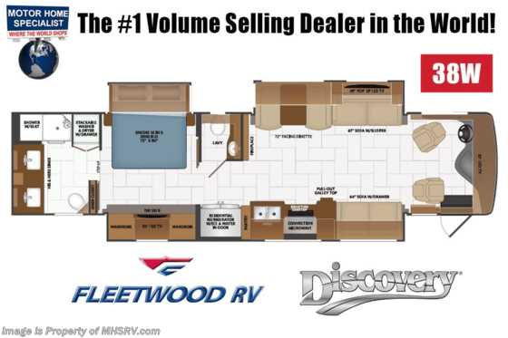 2021 Fleetwood Discovery 38W Bath & 1/2 RV W/ Theater Seats, OH Loft, 3 A/Cs, Technology Package Floorplan
