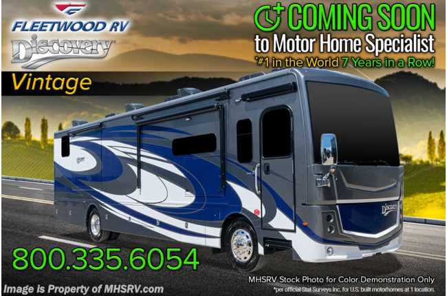 2021 Fleetwood Discovery 38K Bath & 1/2 RV W/ OH Loft, Theater Seats, Tech Pkg & 3 A/Cs