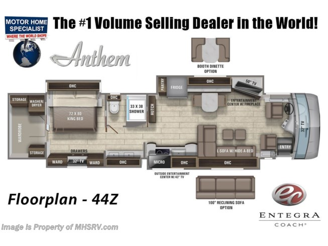 Floorplan of 2021 Entegra Coach Anthem 44Z