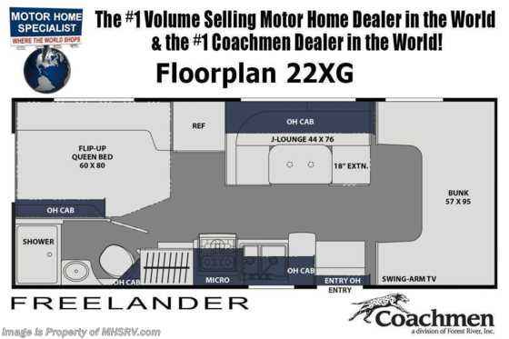 2021 Coachmen Freelander  22XG Ford® V-8, Bedroom/Garage Cargo System, Back-Up Camera, Azdel™ Floorplan