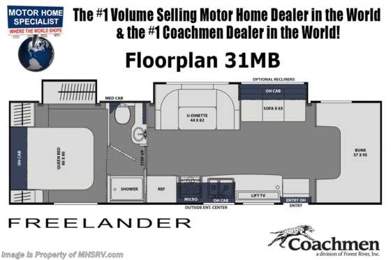 2021 Coachmen Freelander  31MB W/ CRV Pkg, 2 A/Cs, Ext. TV & Jacks Floorplan