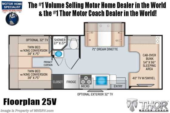 2021 Thor Motor Coach Four Winds 25V W/ 15K A/C, Ext TV, Bedroom TV, Solar, Home Collection Floorplan