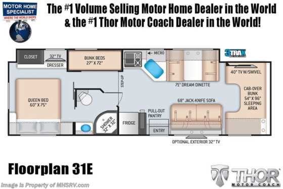 2021 Thor Motor Coach Four Winds 31E Bunk Model W/ MORryde© Suspension, 2 A/Cs, Ext TV, Solar & FBP Floorplan