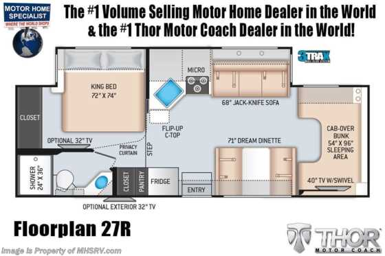 2021 Thor Motor Coach Chateau 27R W/ King Bed, 15K A/C, Ext TV, Home Collection, Solar & Bedroom TV Floorplan