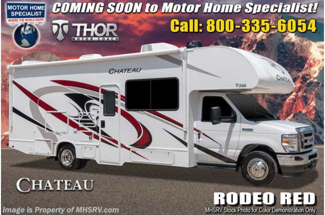2021 Thor Motor Coach Chateau 27R W/ King Bed, 15K A/C, Ext TV, Home Collection, Solar & Bedroom TV