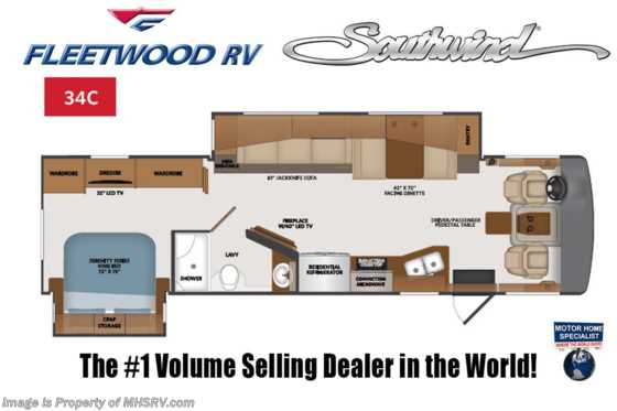 2021 Fleetwood Southwind 34C W/ Theater Seats, Oceanfront Collection, W/D, Collision Mitigation & Sumo Springs Floorplan
