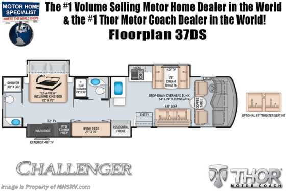 2021 Thor Motor Coach Challenger 37DS 2 Full Bath Bunk Model W/ Theater Seats, King, OH Loft, Ext TV Floorplan