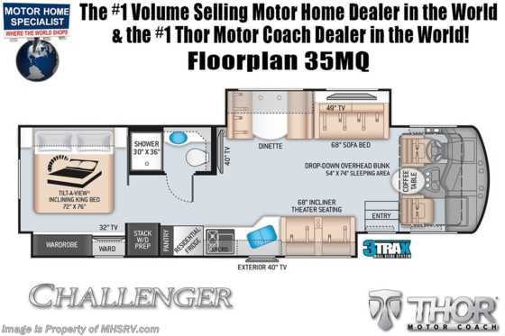 2021 Thor Motor Coach Challenger 35MQ W/ King Bed, OH Loft, Exterior TV Floorplan