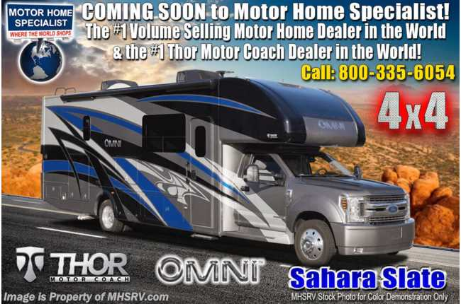 2021 Thor Motor Coach Omni RB34 4x4 Bunk Model Super C RV W/Ford® 330HP Diesel, Theater Seats, Exterior Kitchen & More!