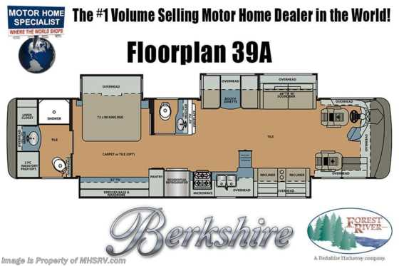 2021 Forest River Berkshire 39A Bath & 1/2 Diesel Pusher RV W/ Theater Seats, 360HP, King, Satellite, W/D Floorplan