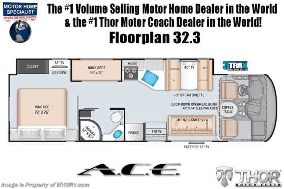 2021 Thor Motor Coach A.C.E. 32.3 Pet Friendly Bunk Model RV W/ King, 2 A/Cs & Solar Floorplan
