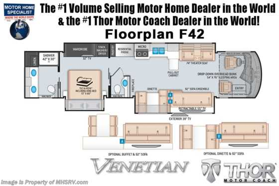 2021 Thor Motor Coach Venetian F42 Luxury Bath & 1/2 W/ OH Loft, Aqua Hot, Studio Collection, Dishwasher & Stack W/D Floorplan