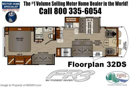 2021 Forest River FR3 32DS Bunk Model RV W/ OH Loft, King Bed, WiFi/Solar Pkg Floorplan
