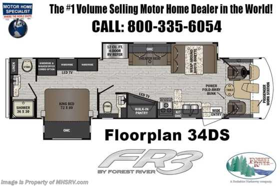 2021 Forest River FR3 34DS Bath & 1/2 RV W/ OH Loft, King Bed, Combo W/D Floorplan