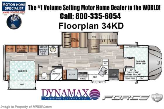 2021 Dynamax Corp Force HD 34KD Super C W/ Theater Seats, Black Out Pkg, Mobileye, GPS & Solar Floorplan
