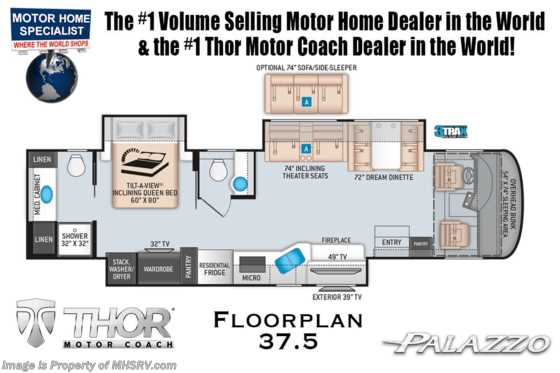 2021 Thor Motor Coach Palazzo 37.5 Bath & 1/2 340HP & Studio Collection Floorplan