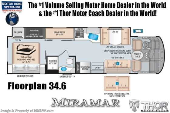 2022 Thor Motor Coach Miramar 34.6 Bunk Model W/ Theater Seats, Dual Pane Windows & King Bed Floorplan