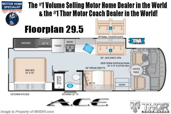 2021 Thor Motor Coach A.C.E. 29.5 Pet Friendly RV W/ Home Collection, Theater Seats, King Bed, 2 A/Cs & Solar Floorplan