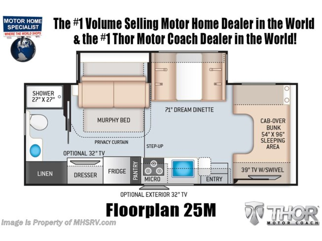 Floorplan of 2022 Thor Motor Coach Four Winds 25M