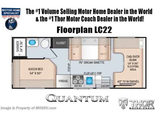 Floorplan of 2021 Thor Motor Coach Quantum LC22
