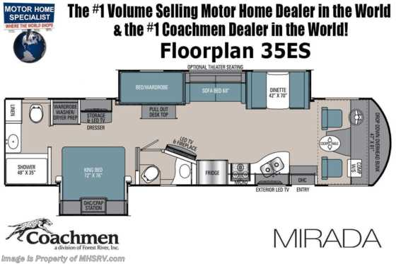 2021 Coachmen Mirada 35ES Bath & 1/2 Bunk Model W/ Theater Seating, B-O-W Living System, King Bed, Stack W/D, Solar, Fireplace & More! Floorplan