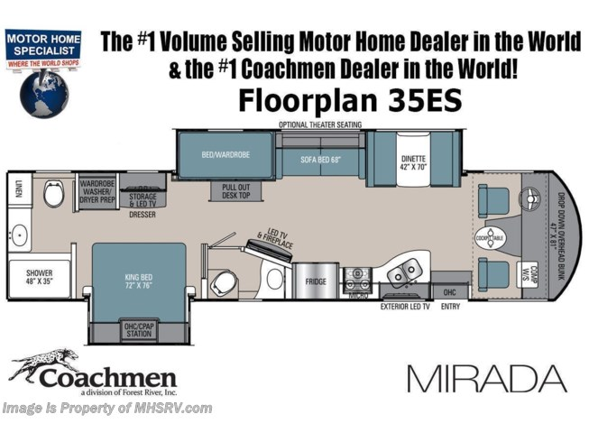 Floorplan of 2021 Coachmen Mirada 35ES