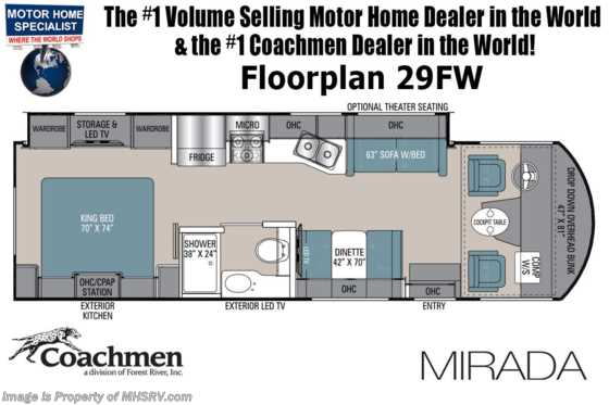 2022 Coachmen Mirada 29FW W/ Theater Seats, King Bed, Solar Pwr Drivers Seat, Ext TV & More! Floorplan