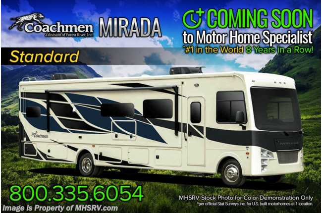 2022 Coachmen Mirada 29FW W/ Theater Seats, King Bed, Solar Pwr Drivers Seat, Ext TV & More!