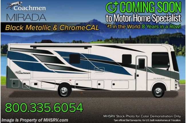 2022 Coachmen Mirada 35OS W/ Theater Seats, King Bed w/ Storage System, Solar, Stack W/D, Ext TV & More!