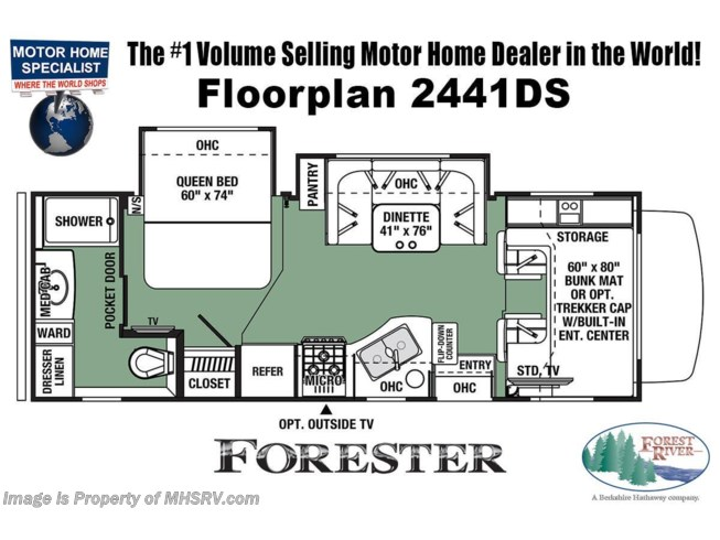 Floorplan of 2021 Forest River Forester 2441DS
