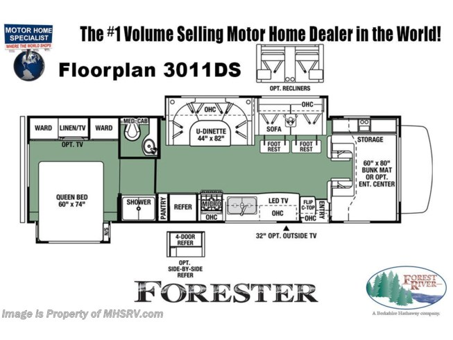 Floorplan of 2021 Forest River Forester 3011DS