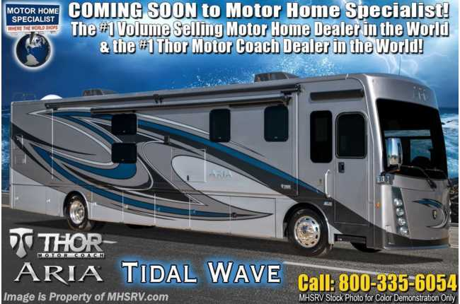 2021 Thor Motor Coach Aria 3901 Bath & 1/2 360HP Diesel RV W/ Theater Seats, King Bed & Studio Collection