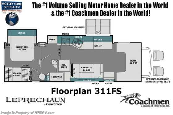 2021 Coachmen Leprechaun 311FS W/ Recliners, Combo W/D, Jacks, Dual A/Cs, Swivel Seats, Bedroom TV & CRV Comfort Pkg Floorplan