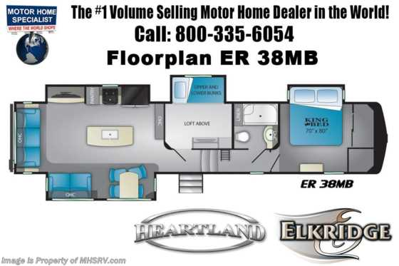 2021 Heartland RV ElkRidge ER 38 MB Bunk Model W/ Bedroom TV, Cold Climate Control Pkg, Booth Dinette Floorplan